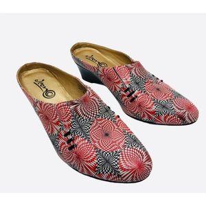 ICON Wearable Art Kaleidoscope Wedge Mule Shoes